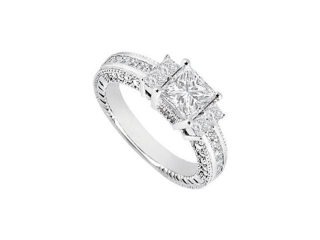 14K White Gold 1 Carat Engagement Ring of Round and Princess Cut Cubic Zirconia in Prong Setting