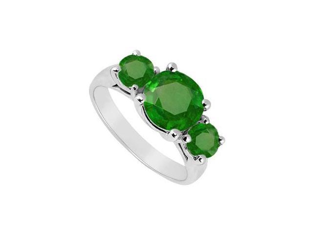 Sterling Silver Frosted Emerald Three Stone Ring 0.50 Carat Total Gem Weight
