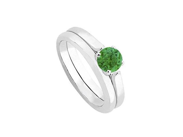 Emerald  Diamond Solitaire Wedding and Engagement Ring Set in 14kt White Gold 0.50.ct.tgw