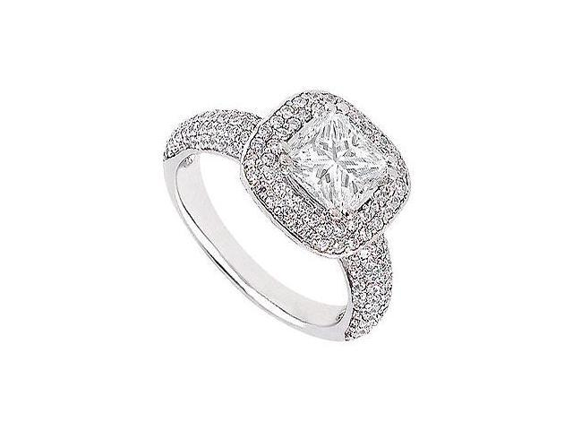 Engagement Ring in 14K White Gold with Princess Cut and Round CZ of 1.50 Carat Total Gem Weight