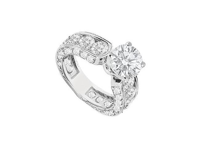 Engagement Ring in 14K White Gold Cubic Zirconia of 4.50 Carat Total Gem Weight