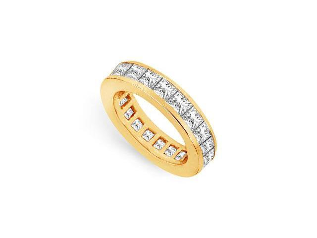 CZ Eternity Band 4 Carat Princess Cut AAA CZ Eternity Band in 18K Yellow Gold Vermeil
