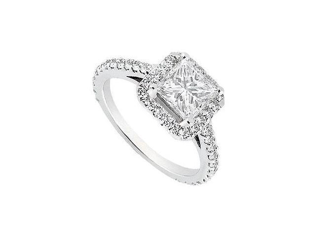 1 Carat Engagement Ring with Princess Cut CZ in 14K White Gold