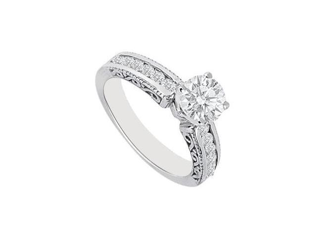 Cubic Zirconia Engagement Ring in 14k White Gold 0.75 Carat Total Gem Weight