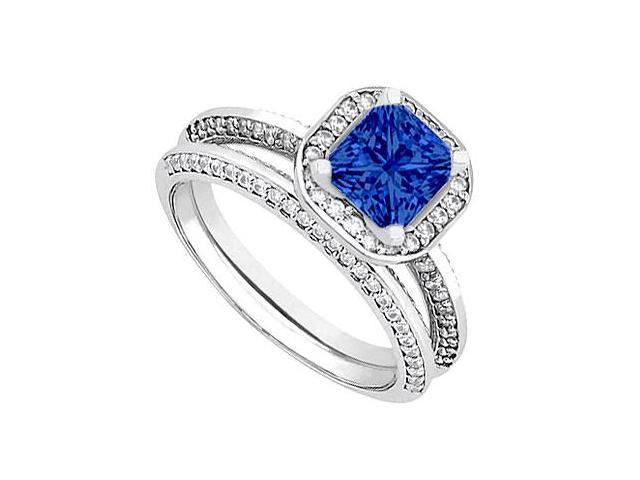 Sapphire  Diamond Wedding and Engagement Ring Set in 14kt White Gold 1.25.ct.tgw