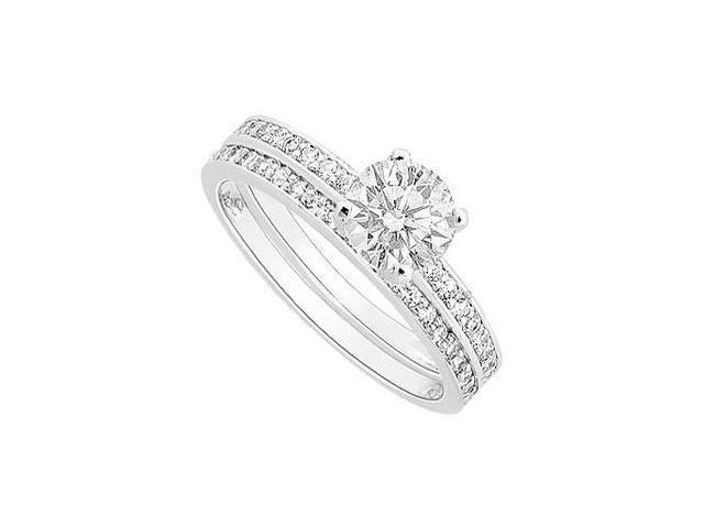Diamond Engagement Ring with Wedding Band Set  14K White Gold - 0.75 CT Diamonds