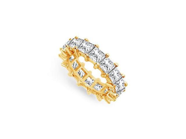 Six Carat Wedding Bands Princess Cut AAA CZ Eternity Band in 18K Yellow Gold Vermeil Silver