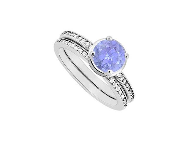 Tanzanite and Diamond Engagement Ring with Wedding Band Sets in  14K White Gold 1.10 Carat TGW
