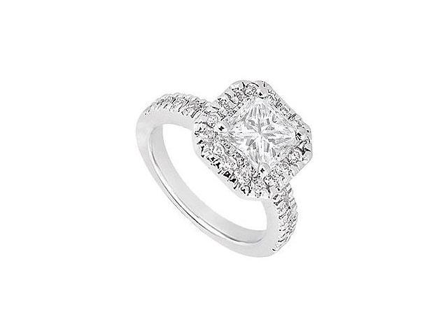 1 Carat Cubic Zirconia Set in 14K White Gold Halo Engagement Ring