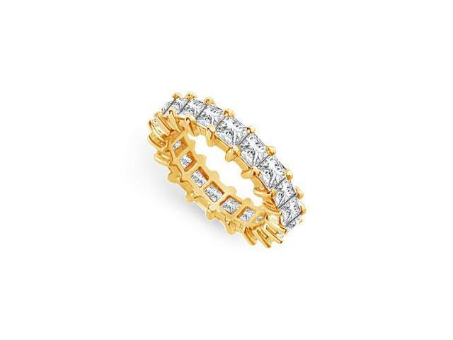 Eternity Wedding Bands Princess Cut AAA CZ Eternity Band on 18K Yellow Gold Vermeil. 4 CT. TGW