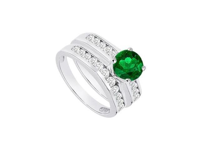 Emerald  Diamond Engagement Ring with Wedding Band Sets 14K White Gold  1.15 CT TGW