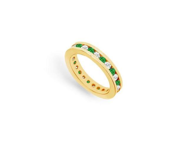 Eternity Ring CZ and Emerald Created in 18K Yellow Gold Vermeil Channel Set. 1CT. TGW.