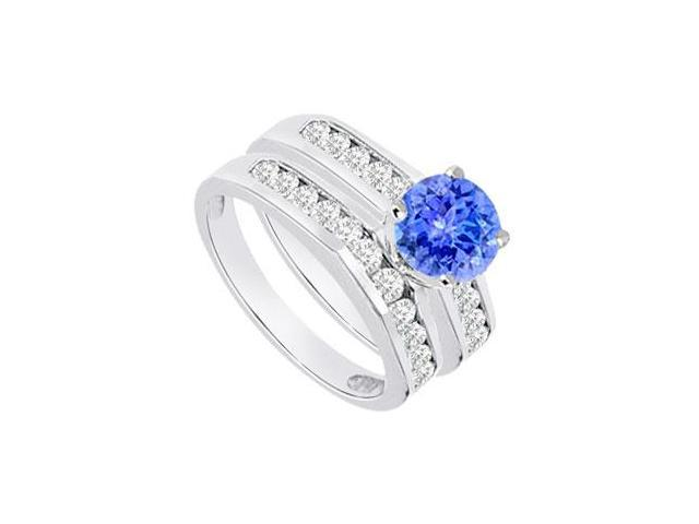 Tanzanite  Diamond Engagement Ring with Wedding Band Sets 14K White Gold  1.15 CT TGW