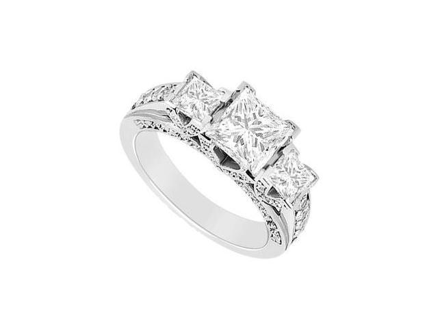 Princess Cut Cubic Zirconia Engagement Ring in 14K White Gold 1.50 Carat Total Gem Weight