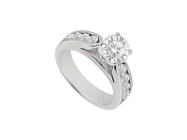 1 Carat Engagement Ring of Triple AAA Quality CZ in 14K White Gold Finish