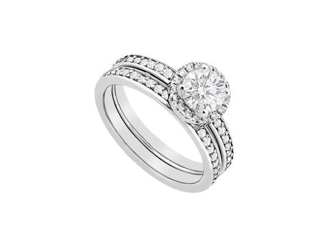 Prong Set Diamond Halo Engagement Ring with Wedding Band Set in 14K White Gold 1.05 CT Diamonds
