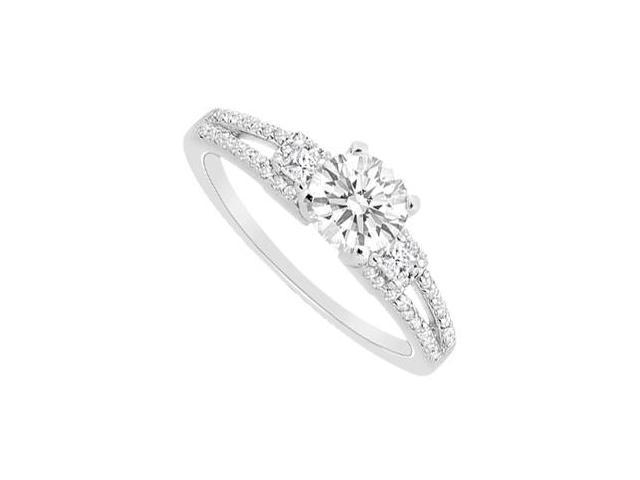 1 Carat Engagement Ring in 14K White Gold of Round and Princess Cut CZ AAA Quality