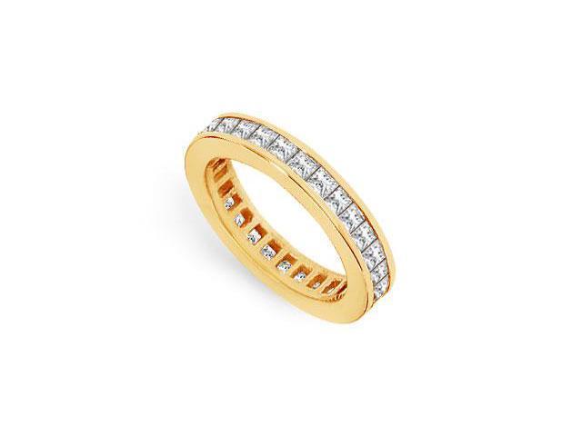 CZ Eternity Band 2 Carat Princess Cut AAA CZ Eternity Band in 18K Yellow Gold Vermeil