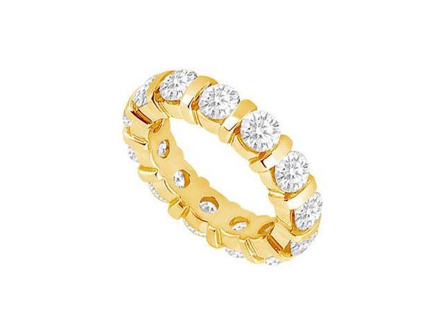 Eternity Band Five Carat Brilliant Cut AAA CZ Wedding Bands Bar Set on 18K Yellow Gold Vermeil