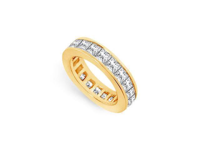 Eternity Band 6 Carat Princess Cut AAA CZ Eternity Band on 18K Yellow Gold Vermeil