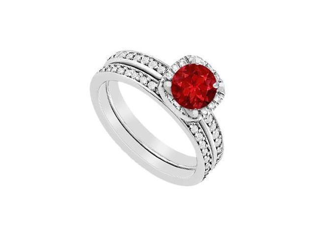 Ruby and Diamond Halo Engagement Ring with Wedding Band Set in 14K White Gold 1.30 carat TGW
