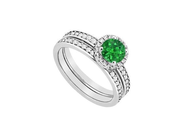 14K White Gold Halo Emerald Engagement Ring with Diamonds Wedding Band Sets 1.30 Carat TGW