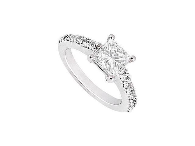 Cubic Zirconia Princess Cut Engagement Ring in White Gold 14K Total Gem Weight of 1 Carat