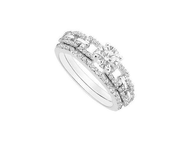 Diamond Engagement Ring with Wedding Band Set  14K White Gold - 1.00 CT Diamonds