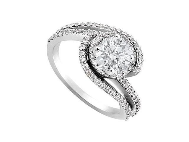 Cubic Zirconia Engagement Ring in 14K White Gold CZ AAA Quality of 1.50 Carat Total Gem Weight