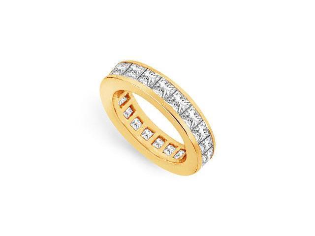 Eternity Band Three Carat Princess Cut AAA CZ Eternity Band on 18K Yellow Gold Vermeil