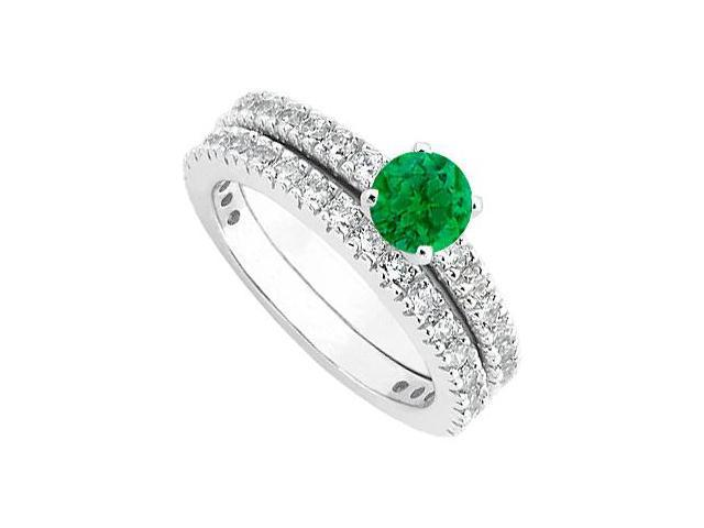Emerald  Diamond Wedding and Engagement Ring Set in 14kt White Gold 1.50.ct.tgw