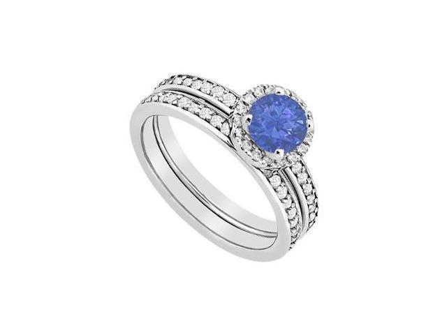 Sapphire Halo Engagement ring with Diamonds Wedding Band Sets of 1.30 Carat in 14K White Gold