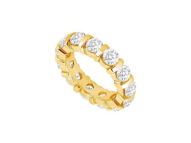 CZ Wedding Bands Three Carat Cubic Zirconia Eternity Band Bar Set on 18K Yellow Gold Vermeil