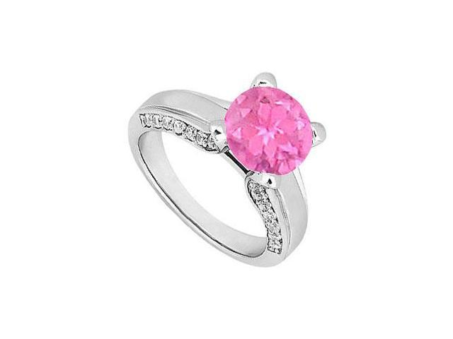 Sterling Silver Created Pink Sapphire and Cubic Zirconia Engagement Ring 1.00 CT TGW