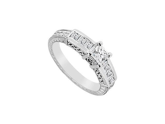 Princess Cut AAA Quality Cubic Zirconia Engagement Ring in 14K White Gold Finish