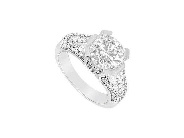 14K White Gold Cubic Zirconia Engagement Ring of 1 Carat Total Gem Weight