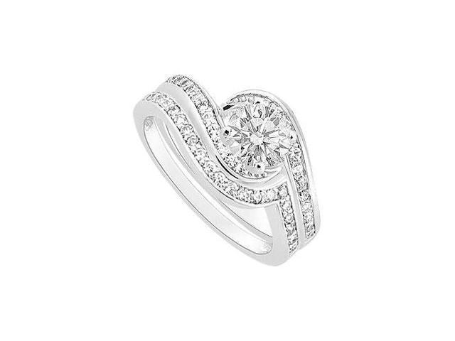 Diamond Engagement Ring with Wedding Band Set  14K White Gold - 1.00 CT Diamonds