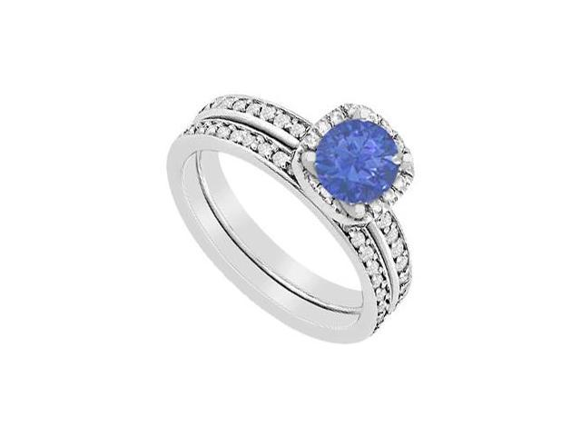 Halo Diamond and Sapphire engagement Ring with Wedding Band Set in 14K White Gold 1.30 Carat TGW