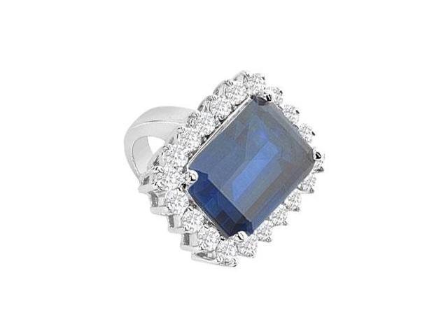 Diffuse Sapphire and Cubic Zirconia Ring 14K White Gold 9.50 Carat Total Gem Weight
