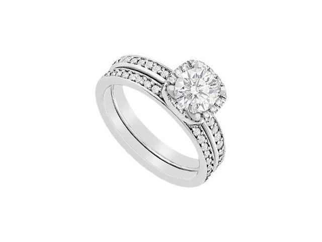 14K White Gold Diamond Halo Engagement Ring with Wedding Band Sets 1.05 Carat Diamonds