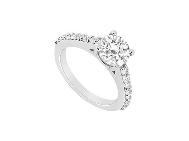 Triple AAA Quality Cubic Zirconia Engagement Ring in 14K White Gold 1 Carat Total Gem Weight