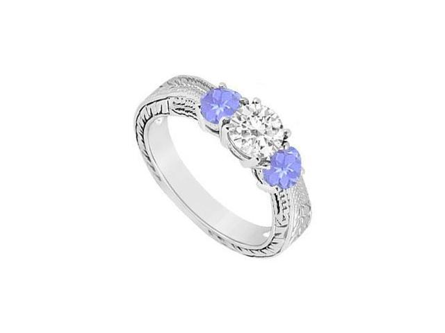 Sterling Silver Created Tanzanite and Cubic Zirconia Three Stone Ring 0.50 CT TGW
