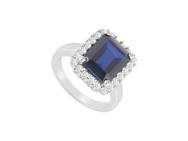 Diffuse Sapphire and Cubic Zirconia Ring 14K White Gold 1.25 Carat Total Gem Weight