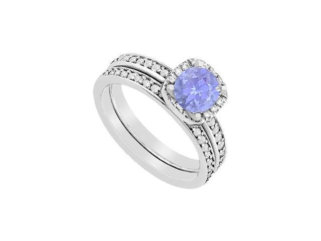 Tanzanite Halo Engagement ring with Diamonds Wedding Band Sets of 1.30 Carat in 14K White Gold