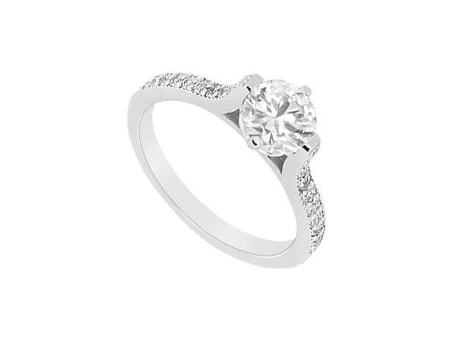 14K White Gold 1 Carat Engagement Ring of Cubic Zirconia in Prong Setting