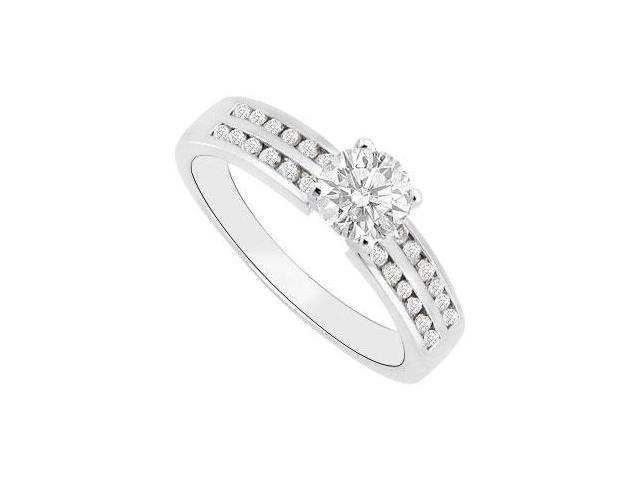 14K White Gold 1 Carat Triple AAA Quality Cubic Zirconia Engagement Ring