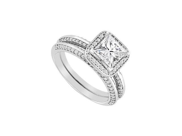 Diamond Princess Cut Engagement Ring with Wedding Band Set in 14K White Gold 1.15 Carat Diamonds