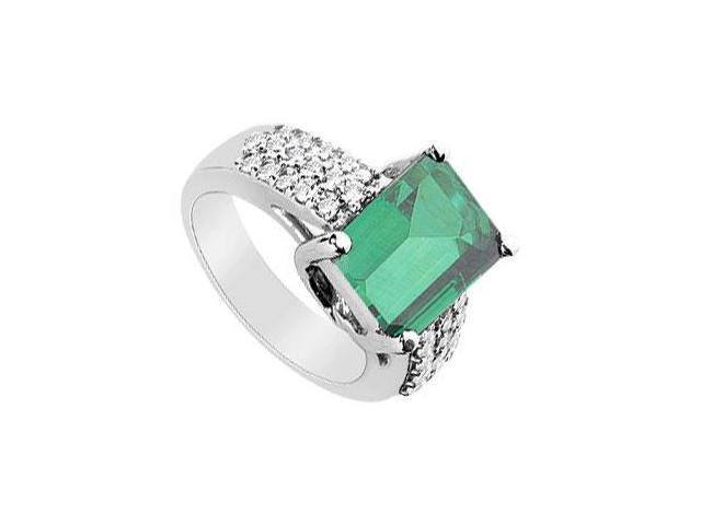 Frosted Emerald and Cubic Zirconia Ring 14K White Gold 4.75 Carat Total Gem Weight