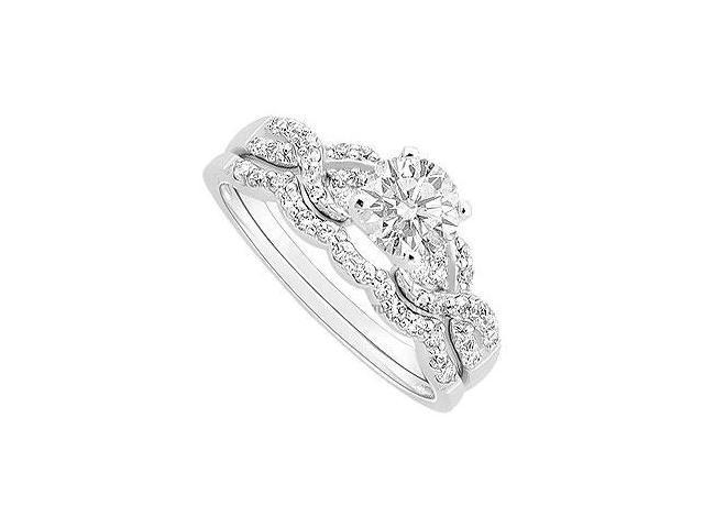 Diamond Engagement Ring with Wedding Band Set  14K White Gold - 0.90 CT Diamonds