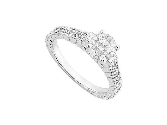 CZ in 14K White Gold Engagement Ring of 1 Carat Total Gem Weight